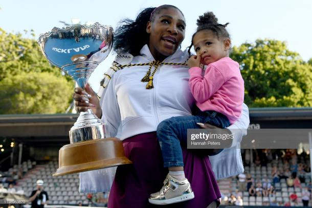 Serena Williams with her 73rd WTA title and Olympia, her daughter | Photo: Hannah Peters