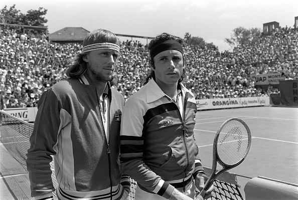 Vilas with Bjorn Borg ahead of the 1978 French Open final (Image: Marcel Binh)