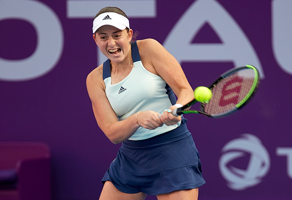 Ostapenko during the 2020 Qatar Total Open (Photo: Quality Sport Images)