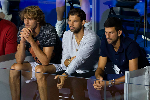 Dimitrov alongside Alexander Zverev and Novak Djokovic at the ill-fated Adria Tour (Image: Nikola Kristic)