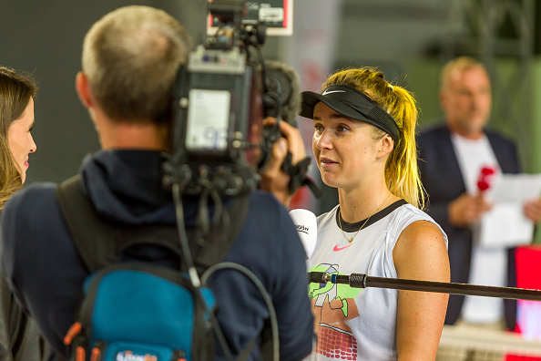 Svitolina being interviewed on court after playing in an exhibition event in Berlin last week (Image: Defodi Images)