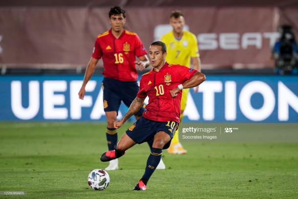 SEVILLE, SPAIN - SEPTEMBER 6: Thiago Alcantara of Spain during the UEFA Nations league match between Spain v Ukraine at the Alfredo Di Stefano Stadium on September 6, 2020 in Seville Spain (Photo by David S. Bustamante/Soccrates/Getty Images)