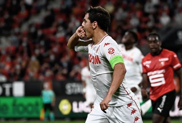 Wissam Ben Yedder celebra un gol con la camiseta del Mónaco. Foto: Getty Images