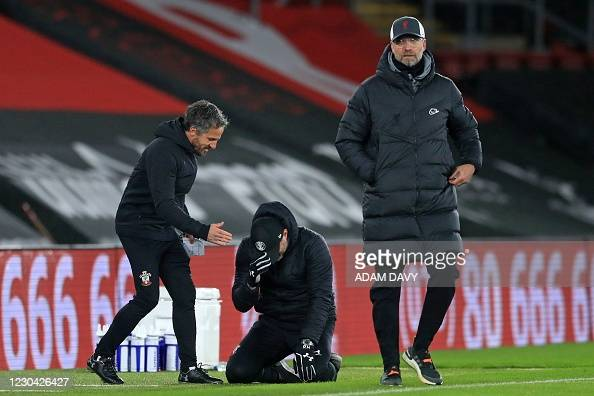 Hasenhuttl drops to the floor at the final whistle