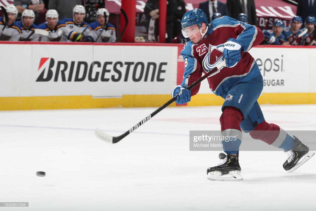 Cale Makar shoots during Game 1/Photo: