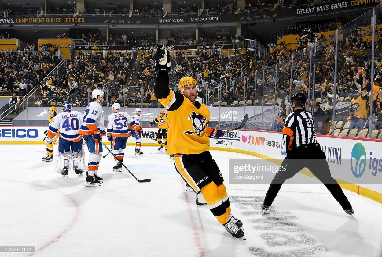 Jeff Carter celebrates after scoring what turned out to be the game-winning goal in Game 2/Photo: Joe Sargent/NHLI via Getty Images