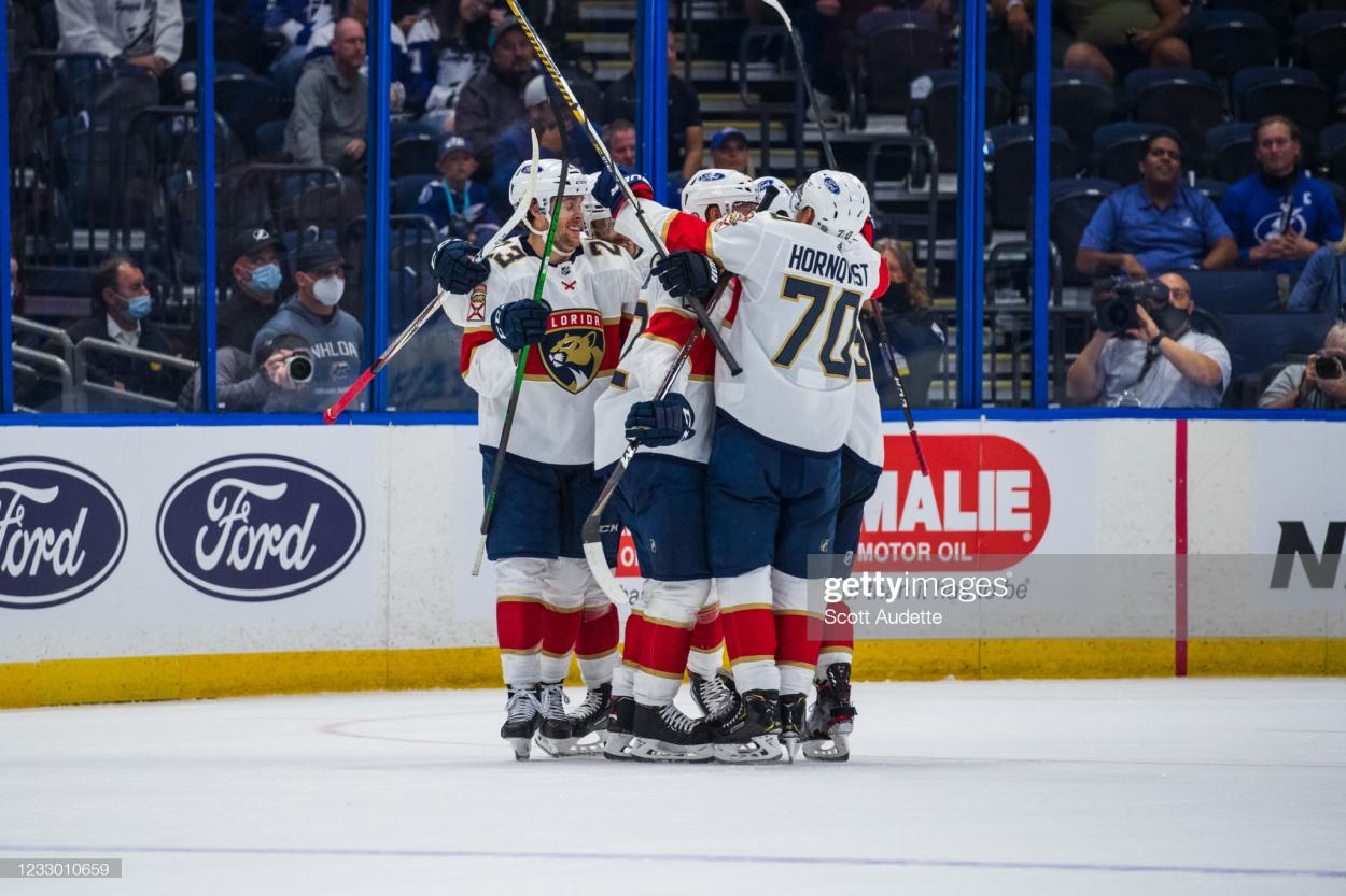 The Panthers celebrate after Gustav Forsling ties the game up/Photo: Scott Audette/NHLI via Getty Images