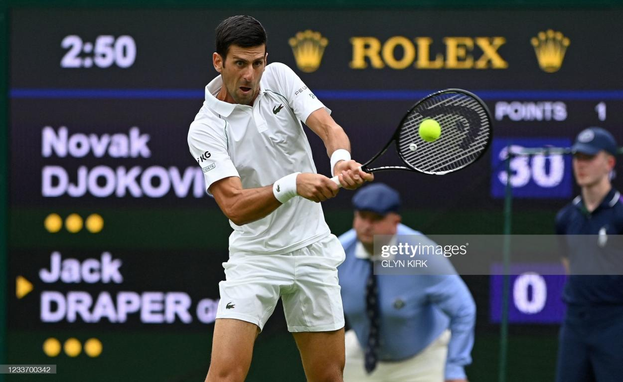 Djokovic will look to his backhand often to win rallies against Anderson/Photo: Glyn Kirk/AFP via Getty Images