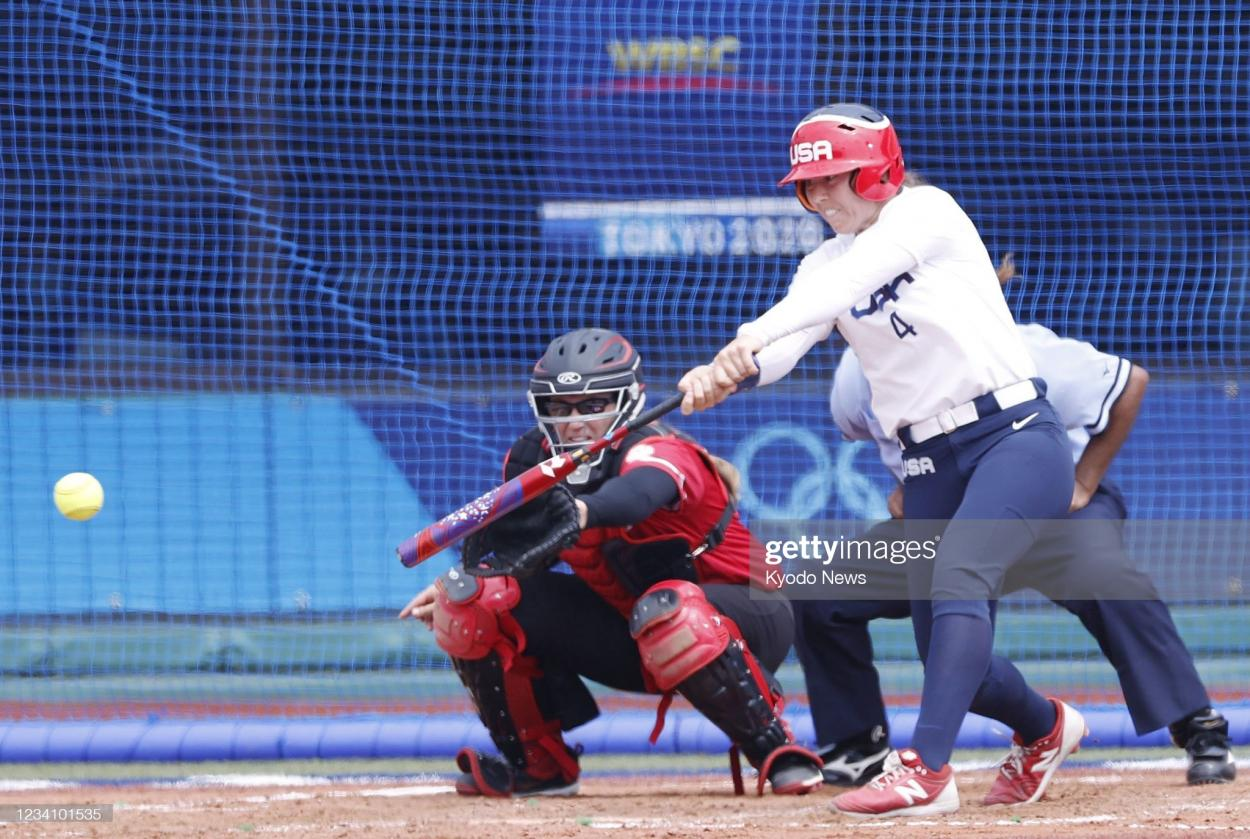 Chidester singles in the only run of the game for Team USA/Photo: Kyodo News via Getty Images