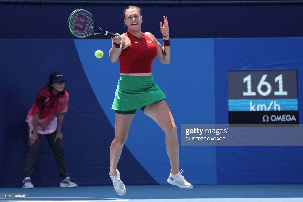 Sabalenka hits a forehand during her first-round victory/Photo: Giuseppe Cacace/AFP via Getty Images