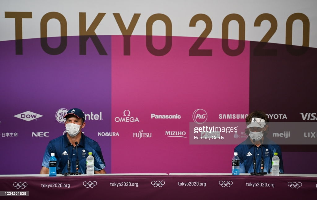 Casey (l.) and Fleetwood (r.) meet the media prior to the start of the golf tournament at the Olympics/Photo: Ramsey Cardy/Sportslife via Getty Images