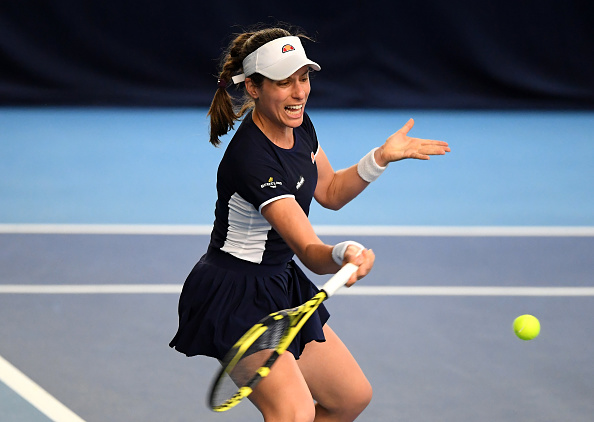 Johanna Konta lost her opening match at the Battle of the Brits, with Hogstedt watching on (Image: Alex Davidson)