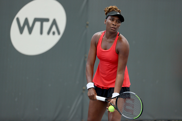 Venus Williams in action against Serena today (Image: Dylan Buell)