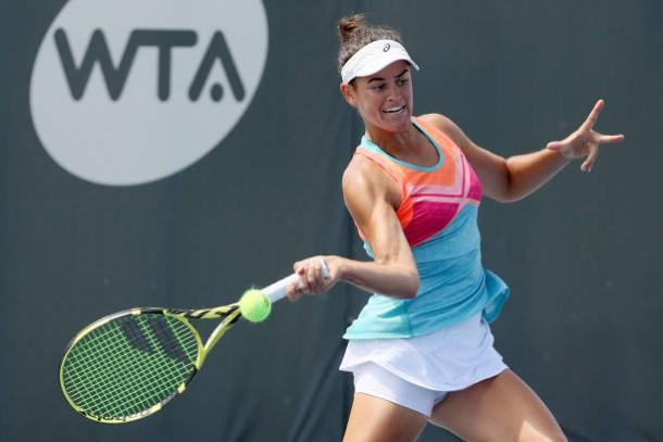 Brady plays a forehand during her a semifinal victory/Photo: Dylan Buell/Getty Images