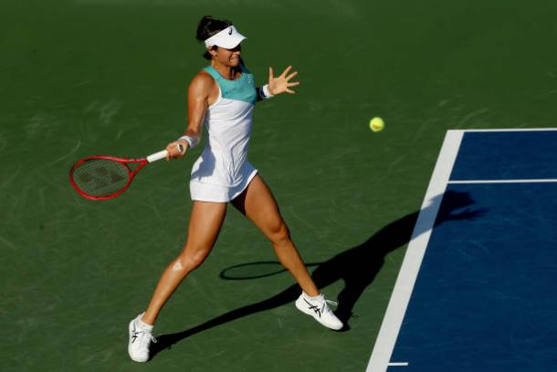 Garcia hits a forehand in her match against Stephens/,Photo: Matthew Stockman/Getty Images
