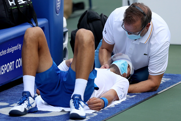 Djokovic received medical treatment in the second set (Image: Matthew Stockman)