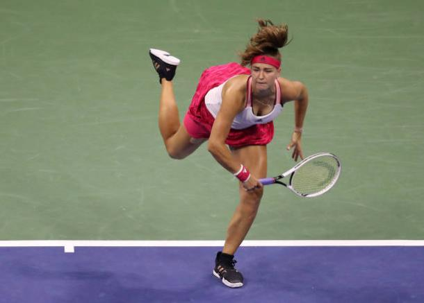 Muchova serves during her first-round victory/Photo: Matthew Stockman/Getty Images