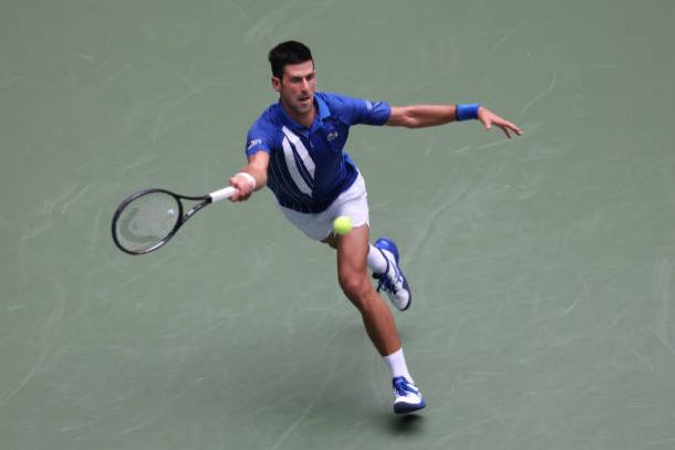 Djokovic was made to work hard for his victory/Photo: Matthew Stockman/Getty Images