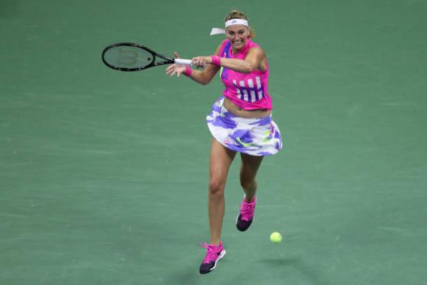 Kvitova hits a forehand during her third-round victory/Photo: Matthew Stockman/Getty Images