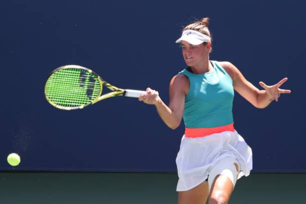 Brady hits a forehand during her fourth-round victory/Photo: Al Bello/Getty Images