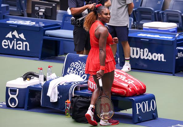 Williams celebrates after her three-set victory (Image: Al Bello)