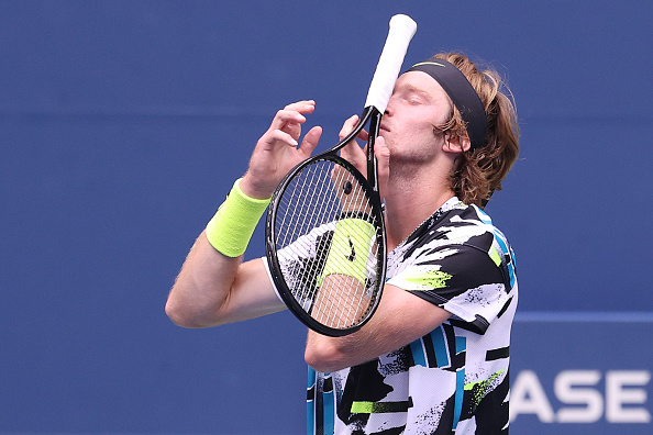 Rublev's frustration was evident at the end of the first set (Image: Al Bello)