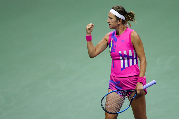 Azarenka celebrates a winner in her semifinal clash against Serena Williams (Image: Matthew Stockman)