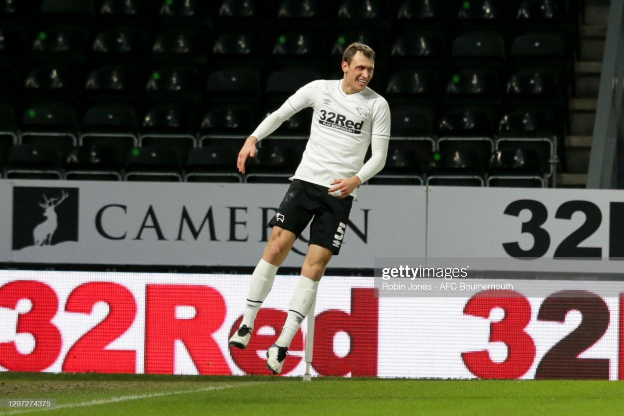 DERBY, ENGLAND - JANUARY 19: Krystian Bielik of Derby County scores a goal to make it 1-0 and celebrates during the Sky Bet Championship match between Derby County and AFC Bournemouth at Pride Park Stadium on January 19, 2021 in Derby, England. Sporting stadiums around the UK remain under strict restrictions due to the Coronavirus Pandemic as Government social distancing laws prohibit fans inside venues resulting in games being played behind closed doors. (Photo by Robin Jones - AFC Bournemouth/AFC Bournemouth via Getty Images)