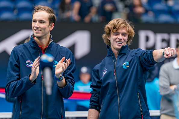 Teammates this past week, potential rivals if they meet up as Medvedev (L) and Rublev are favorites to make it to the quarters in this section (Andy Cheung/Getty Images)