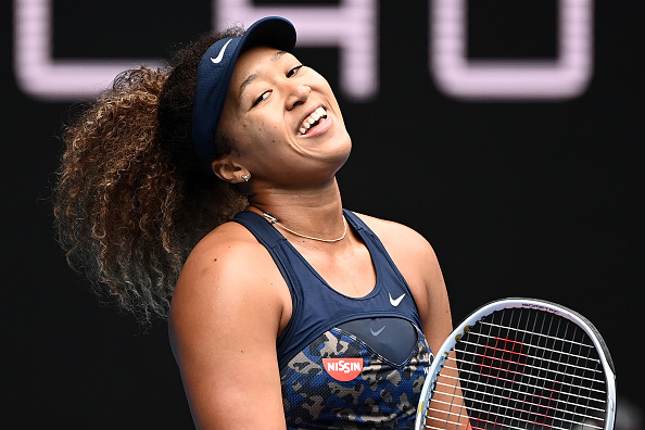 Osaka reacts to a miss in the open court but still won set two (Quinn Rooney/Getty Images)