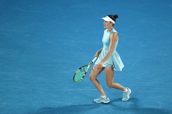 It was a frustrating end to the opening set for Jennifer Brady (Cameron Spencer/Getty Images)