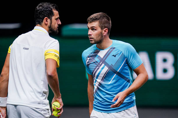 Pavic (l.) and Mektic (r.) in doubles action/Photo: Henk Seppen/BSR Agency/Getty Images