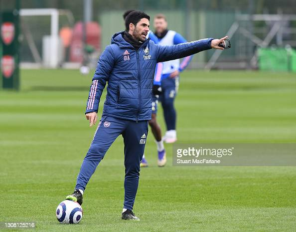 Arsenal manager Mikel Arteta during a training session at London Colney on March 20, 2021 in St Albans, England. (Photo by Stuart MacFarlane/Arsenal FC via Getty Images)