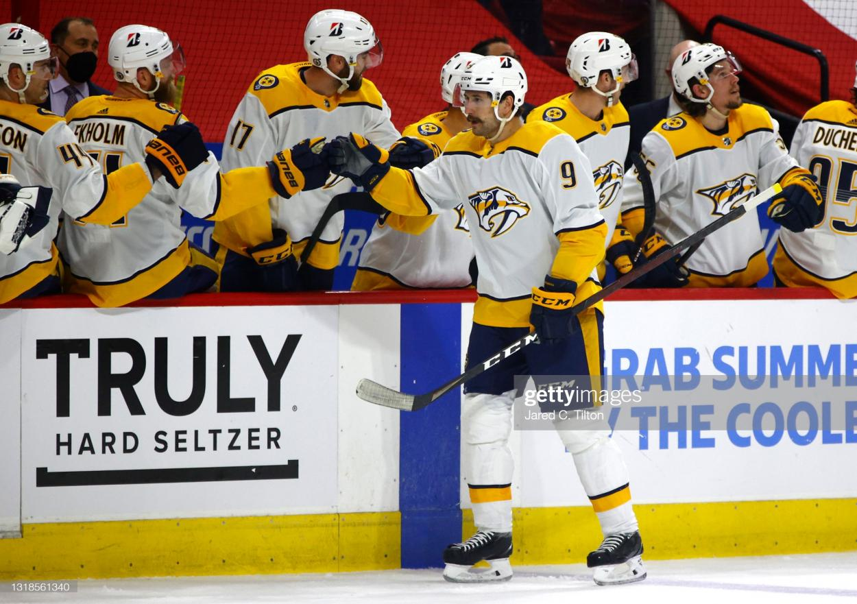 Filip Forsberg receives congratulations from his teammates after giving Nashville an early lead in Game 1/Photo: Jared C. Tilton/Getty Images
