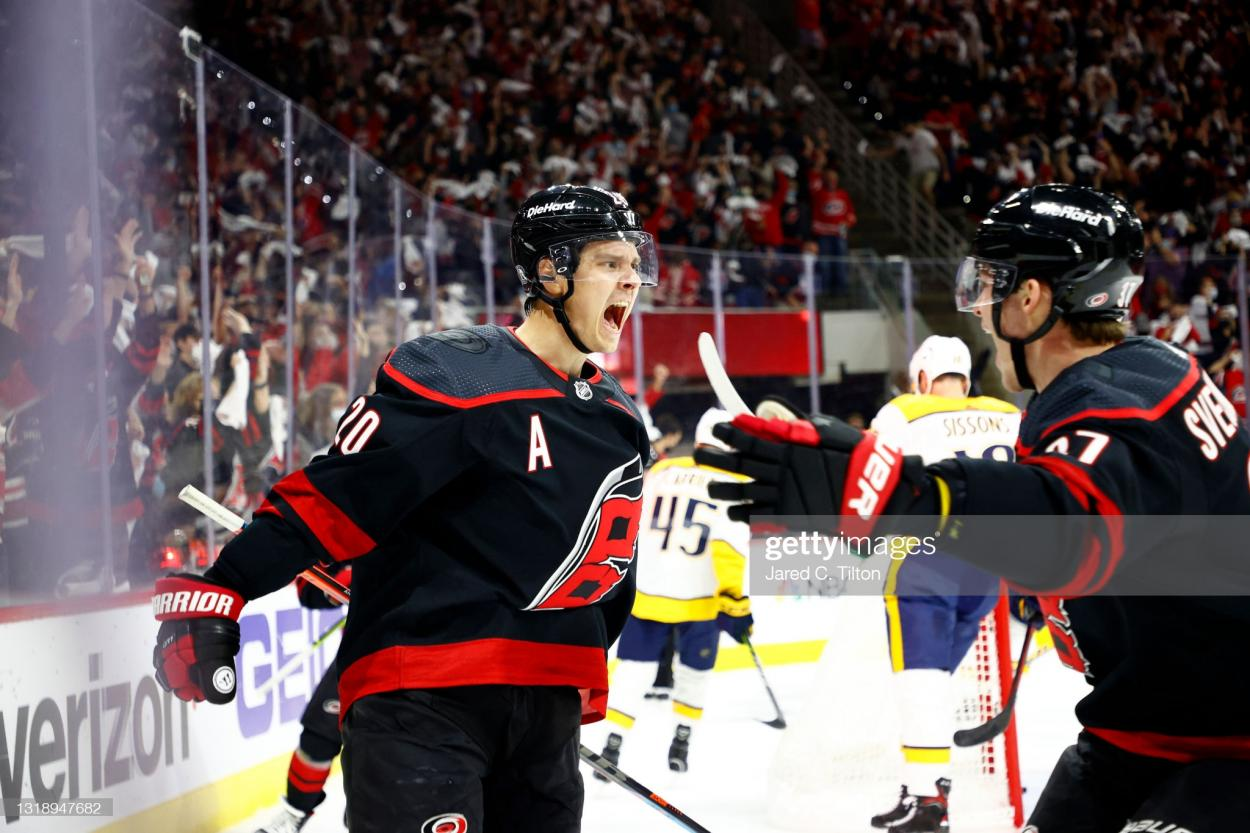 Sebastian Aho celebrates after opening the scoring in Game 2/Photo: Jared C. Tilton/Getty Images