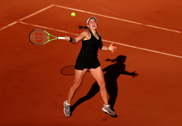 Ostapenko gets ready to hit a forehand during her first-round match/Photo: Julian Finney/Getty Images