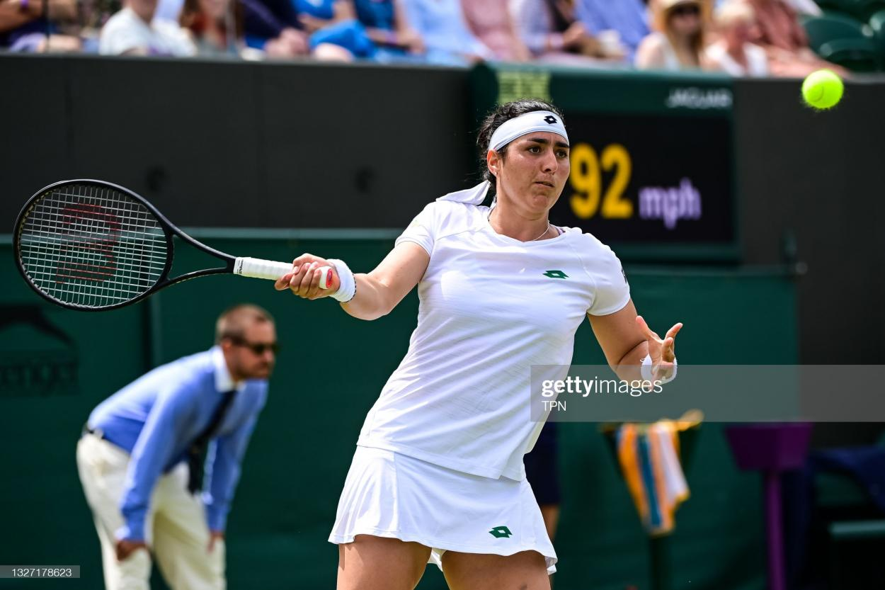 Jabeur hits a forehand during her fourth-round victory/Photo: TPN/Getty Images