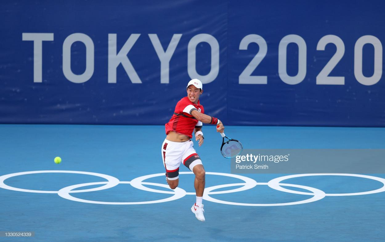 Nishikori hits forehand in his first-round victory/Photo: Gouseppe Cacace/AFP via Getty Images