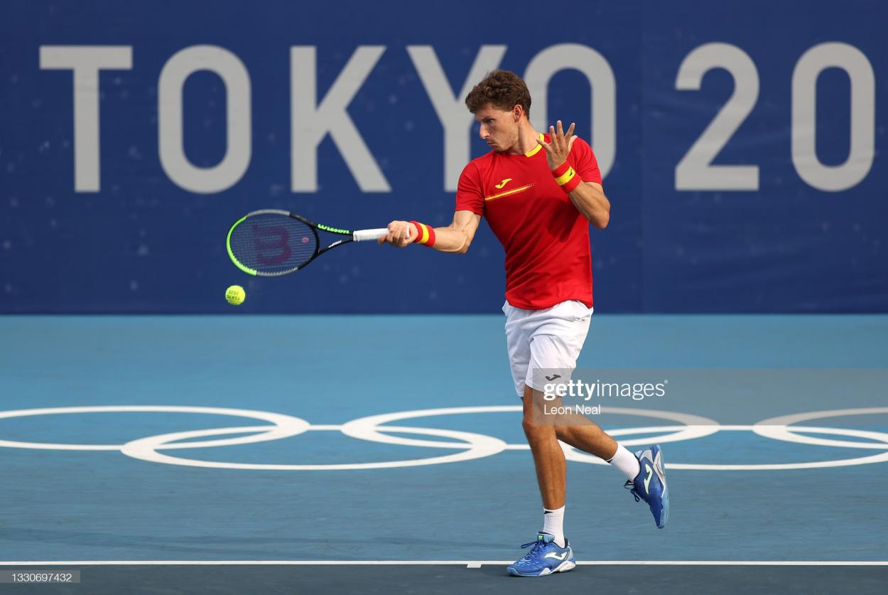 Carreno Busta hits a forehand during his second-round victory/Photo: Leon Neal/Getty Images