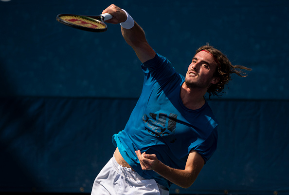 Tsitsipas practicing at the US Open (TPN/Getty Images)