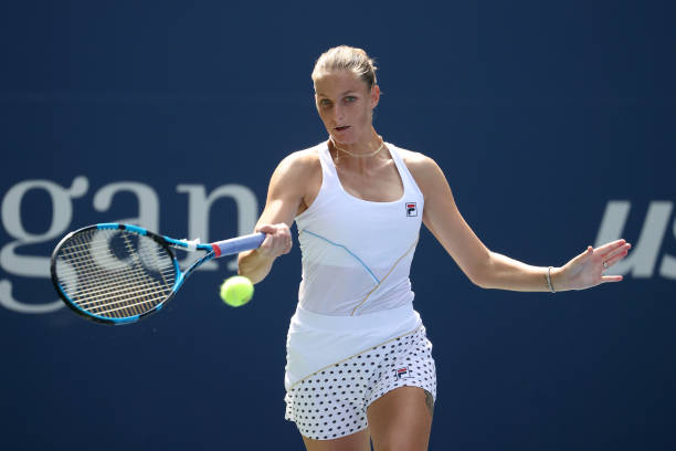 Pliskova hits a forehand during her first-round victory/Photo: Al Bello/Getty Images
