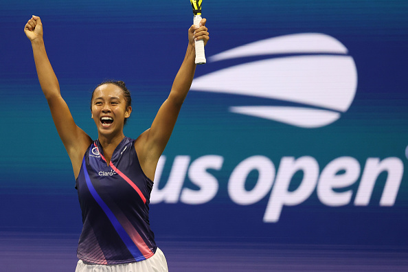 Fernandez reacts to taking the match over Osaka (Matthew Stockman/Getty Images)