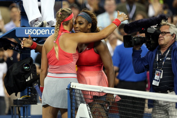 Azarenka and Williams after the 2013 US Open final (Image: Clive Brunskill)