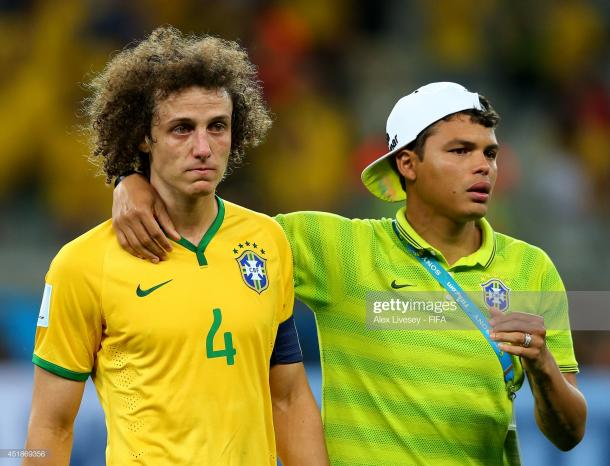 David Luiz y Thiago Silva desconsolados / Foto: Getty Images