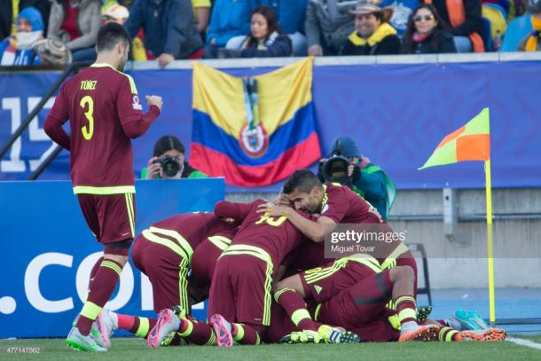 Venezuela celebra el gol el triunfo vs Colombia / Foto: Getty Images