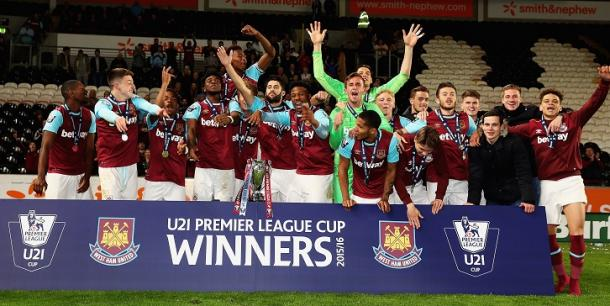 Above: West Ham United winning the U21 Premier League Cup last season | Photo: whufc.com