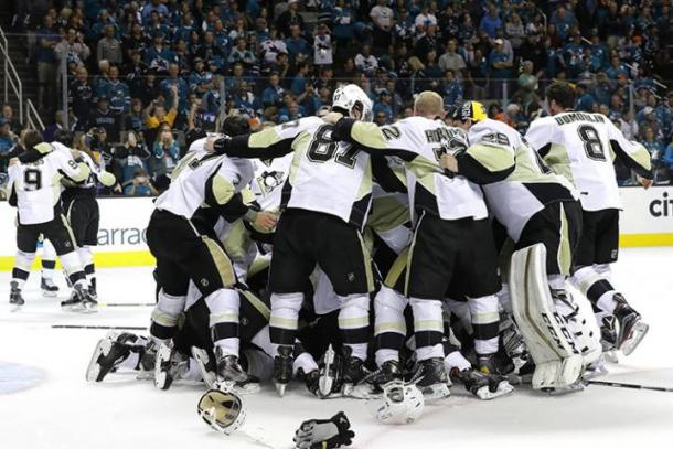The Pittsburgh Penguins celebrate after a 3-1 victory over the San Jose Sharks on Sunday night at SAP Arena | Robert Reiners - Getty Images