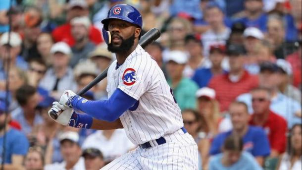 Jason Heyward watches the ball leaves his bat during a regular season game in 2016-Chicago Tribune