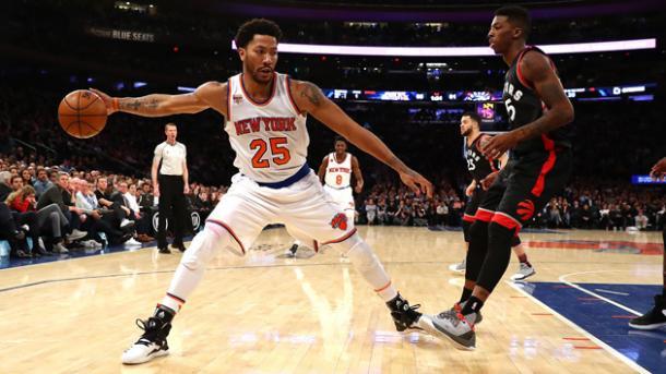 Derrick Rose in azione con la casacca dei Knicks. Fonte: Getty Images