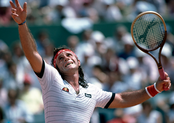 Vilas during the 1982 French Open (Image: Professional Sport)